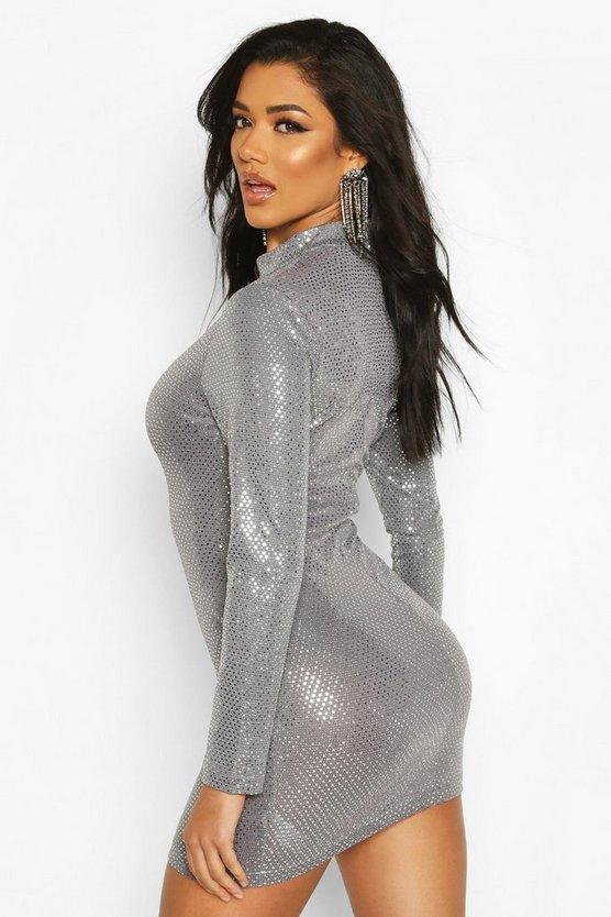 High Neck All Over Sequin Bodycon Mini Dress