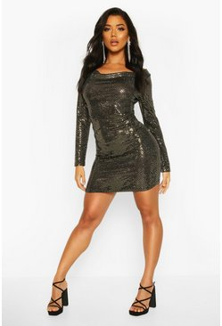 Womens Gold Cowl Neck All Over Sequin Bodycon Mini Dress