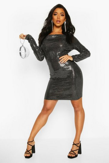 Silver Cowl Neck All Over Sequin Bodycon Mini Dress