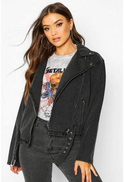 Womens Washed black Belted Denim Biker Jacket