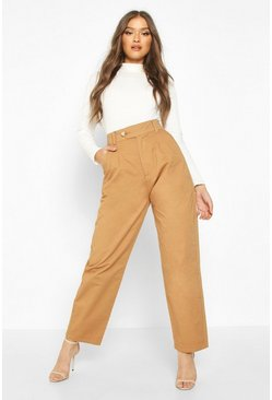 Womens Camel Tailored Pleat Front Denim Trouser