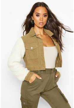 Womens Washed khaki Borg Sleeve Cord Trucker Jacket