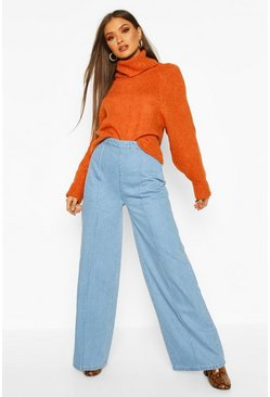 Blue Super Wide Leg Jeans