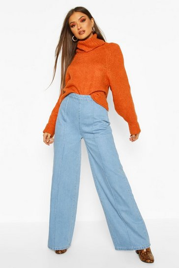 Womens Blue Super Wide Leg Jeans