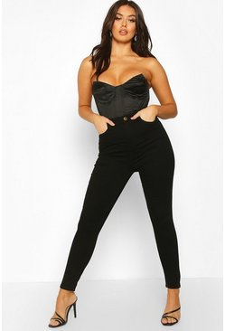 Womens Black High Rise Skinny Butt Shaper
