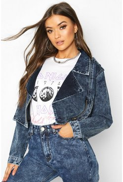 Dam Mid blue Acid Wash Denim Biker Jacket