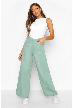 Womens Green Seam Front Wide Leg Jeans