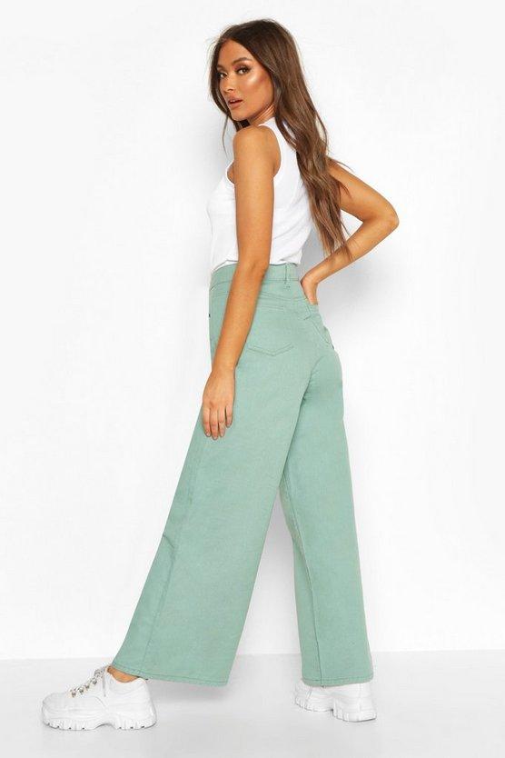 Seam Front Wide Leg Jeans