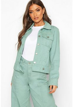 Womens Green Denim Trucker Jacket