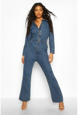 Womens Mid blue Zip Detail Denim Boilersuit