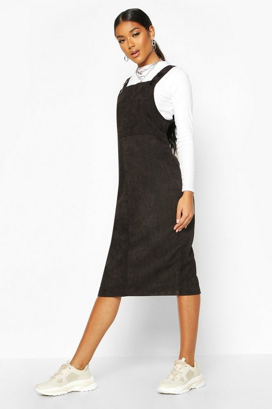 Womens Black Cord Midi Pinafore Dress