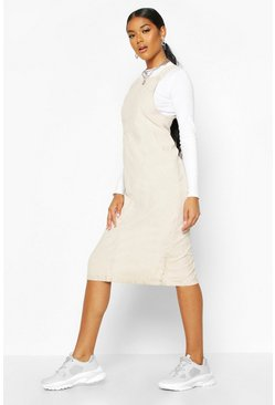 Womens Ecru Cord Midi Pinafore Dress