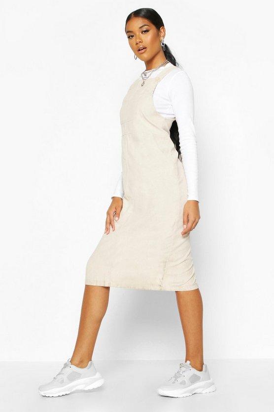 Cord Midi Pinafore Dress