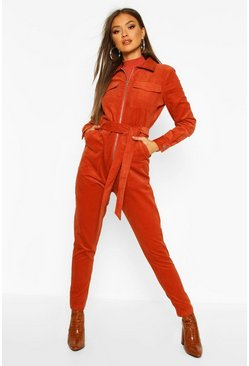 Rust Belted Utility Cord Boilersuit