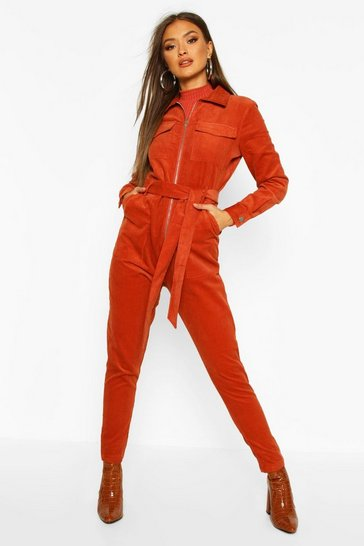 Womens Rust Belted Utility Cord Boilersuit