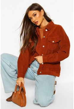 Dam Brown Cord Denim Biker Jacket