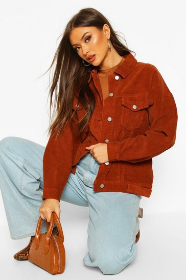 Womens Brown Cord Denim Biker Jacket