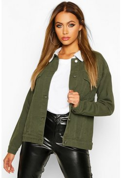 Womens Khaki Borg Collar Oversized Denim Jacket