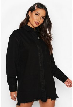 Womens Black Longline Oversized Ripped Hem Denim Shirt