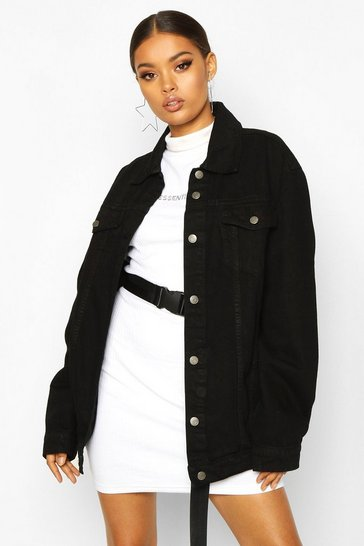Womens Black Longline Denim Jacket