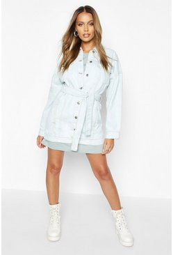 Womens Light blue Longline Belted Denim Jacket