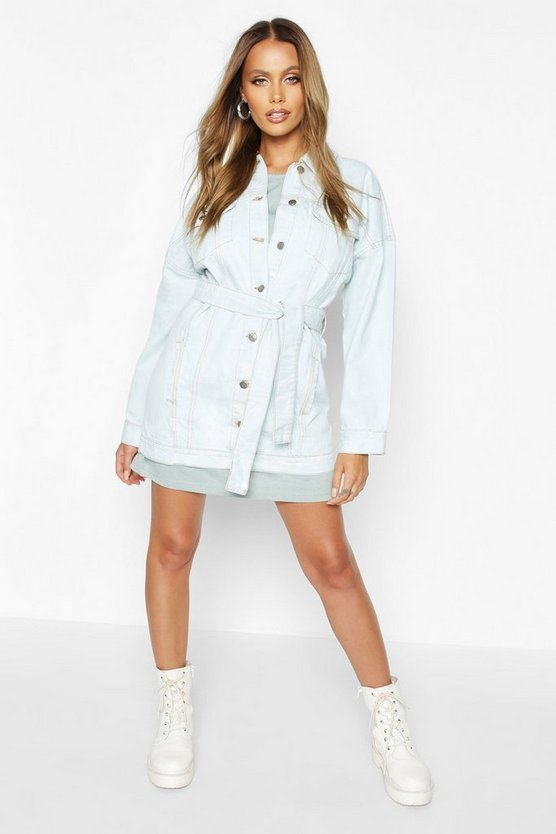 Longline Belted Denim Jacket