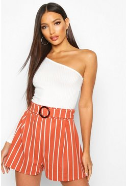Terracotta O-Ring Belted Stripe Shorts