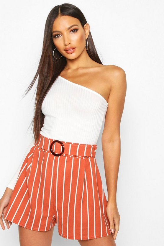 O-Ring Belted Stripe Shorts