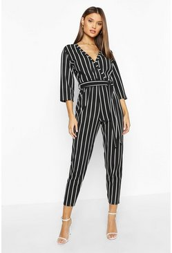 Dam Black Stripe Wrap Jumpsuit