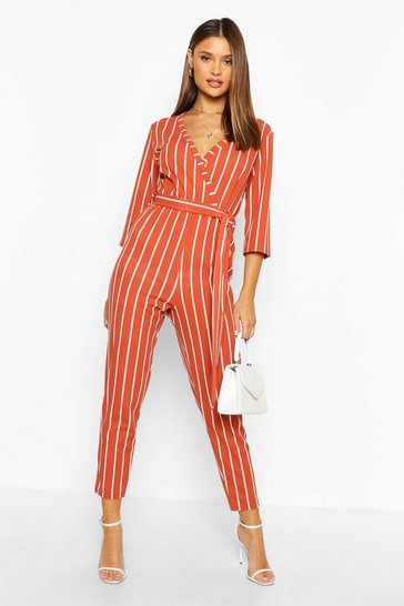 Womens Terracotta Stripe Wrap Jumpsuit