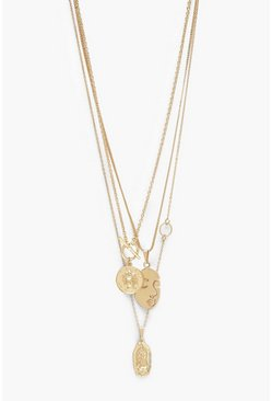 Gold Multi Charm And T-Bar Layered Necklace