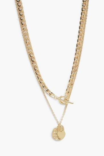 Womens Gold T-Bar Chain Layered Necklace