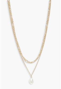 Womens Gold Double Chain Pearl Pendant Necklace