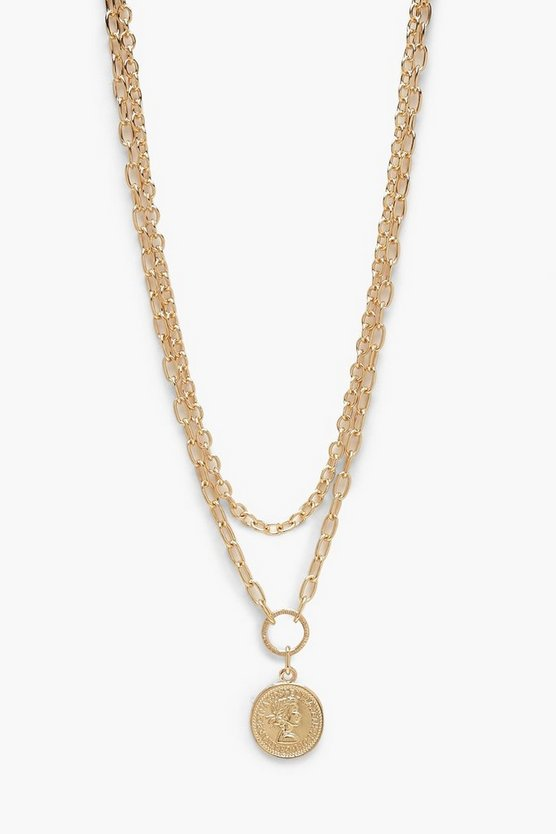 Womens Gold O-Ring Coin Chunky Chain Necklace