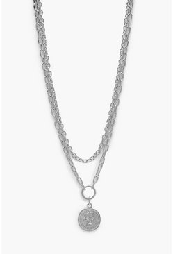Womens Silver O-Ring Coin Chunky Chain Necklace