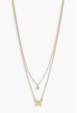 Womens Gold Butterfly & Heart Double Chain Necklace