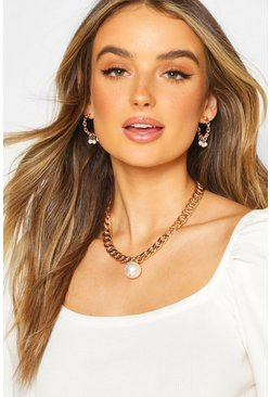 Dam Gold Pearl Chunky Chain Necklace