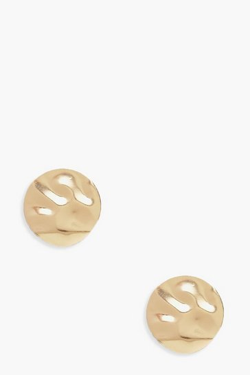 Womens Gold Hammered Oversized Stud Earrings