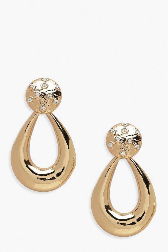 Diamante Stud Vintage Door Knocker Earrings