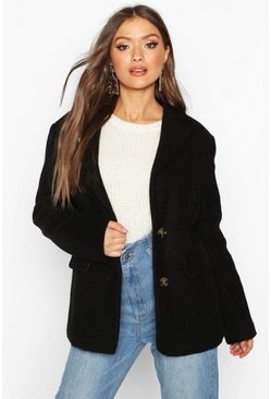 Womens Black Oversized Wool Look Blazer
