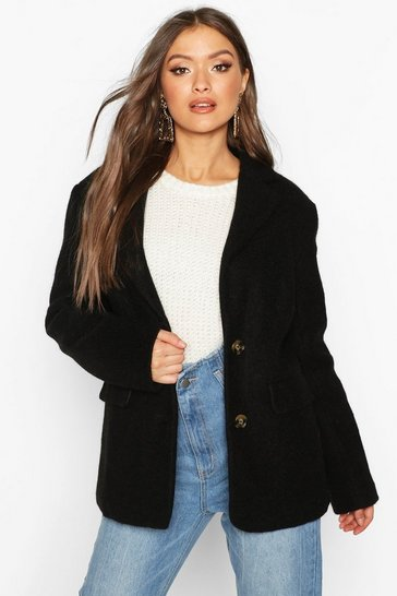 Black Oversized Wool Look Blazer