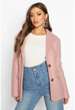 Womens Pink Oversized Wool Look Blazer
