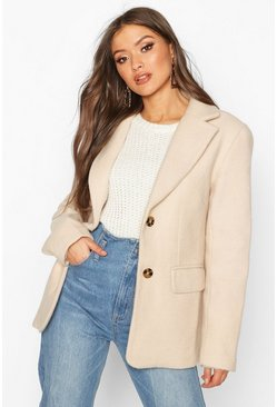 Stone Oversized Wool Look Blazer