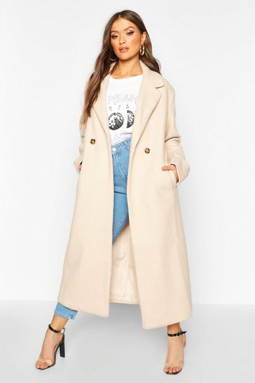 Womens Stone Maxi Length Oversized Wool Look Coat