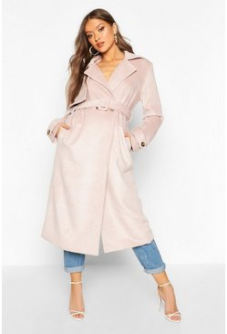 Womens Blush Brushed Wool Look Trench Coat