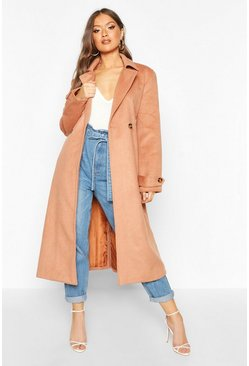 Camel Brushed Wool Look Trench Coat