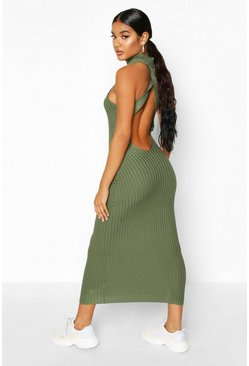 Womens Olive Roll Neck Cross Back Knitted Midaxi