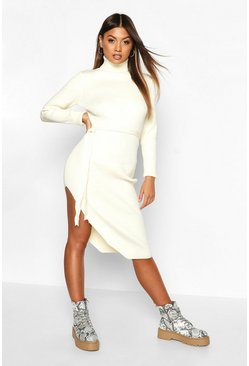 Womens Cream Roll Neck Knitted Slit Side Midi Dress