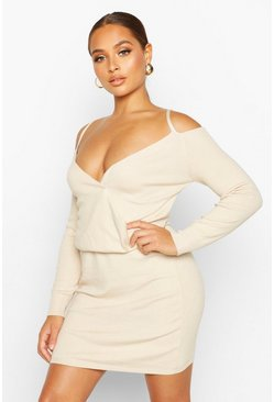 Cream Knitted Off The Shoulder Cropped Mini Set