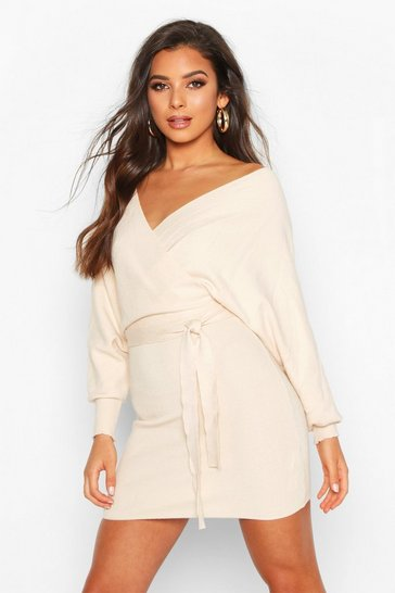 Cream Knitted Off The Shoulder Wrap Midi Dress